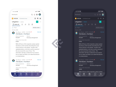 CC Light & Dark modes insurance app mobile mobile uiux light ui light mode dark ui dark mode insurance product ui responsive design mobile ui exzeo claim colony web design ui ux design ui ux ui design ui