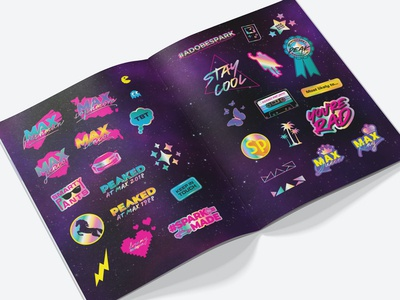 Adobe Max 2018 Yearbook Stickers typography illustration stickers