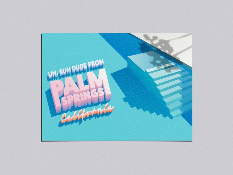 Adobe Live Palm Springs Postcard postcard palm springs vector typography illustration