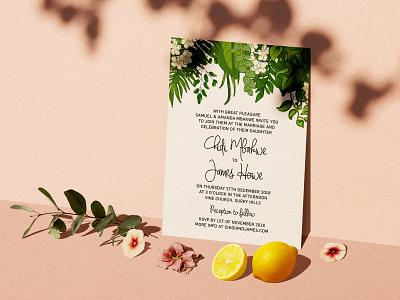 Chidi + James Invitations vector ferns tropical illustration invitation wedding