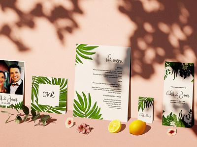 Chidi + James Wedding Suite invitation wedding vector illustration