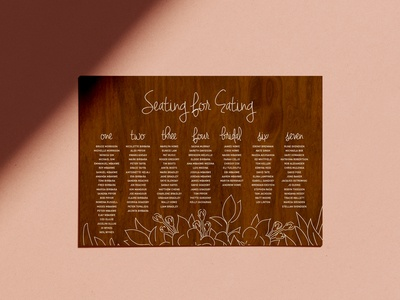 Chidi + James Seating Chart sign illustration seating chart wedding