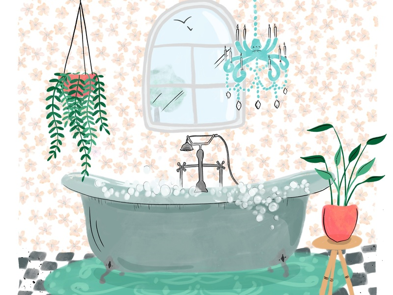 Bubble Bath wallpaper chandelier bathroom plants procreate gouache bubble bath bath
