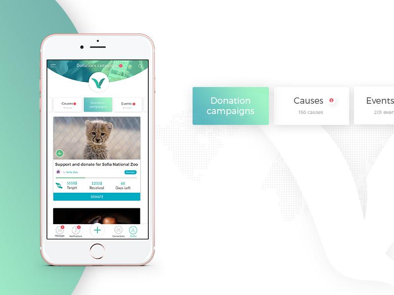 Volontime Mobile App Design cause events donation volunteer ux mobile app design