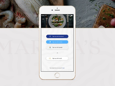 Sign Up Screen for Sea Food restaurant