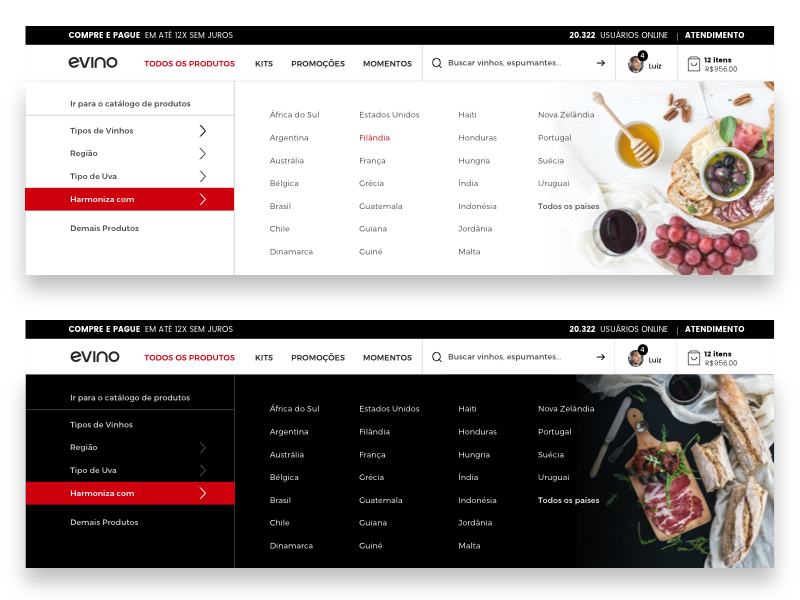 Menu ecommerce store visual design unsplash information interaction photo white black food wine commence menu