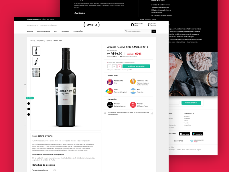 New Product Page for  Website wine product productpage desktop responsive illustration icons website ecommerce