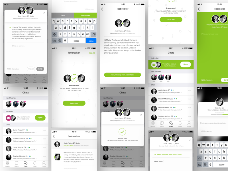 Icebreaker Feature flow green bright flat color producdesign design product ui app dating
