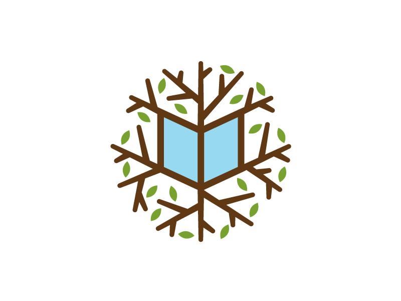 Children's Digital Library logo concept logo logotype identity brand branding sean heisler tree twig leaves book infinite global library kids child read education app free internet