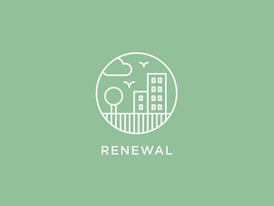 Renewal sean heisler recycle cloud bird recucle regeneration tree outdoors nature icon branding identity logo. logotype building renewal city urban sky lines logo logotype