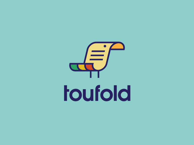Toufold logo logotype identity brand branding sean heisler bird document fun simple minimal digital analog paper fold toucan duplication