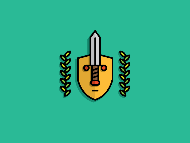 The Veiled Swordsman logo logotype identity illustration heisler sean sword shield leaf face