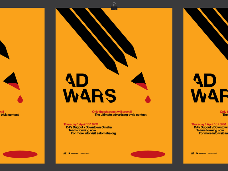 AAF Omaha Ad Wars Team Trivia Event Poster Design heisler omaha event trivia modern simple blood pencil wars ad poster