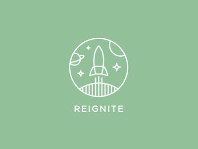Reignite logo. logotype identity branding icon sean heisler rocket re space program