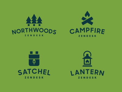Zendesk Northwoods Teams camping badge north lantern campfire satchel trees pine zendesk geometric simple modern identity logo