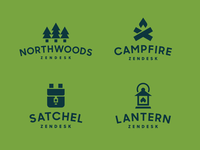Zendesk Northwoods Teams camping badge north lantern campfire satchel trees pine zendesk geometric simple modern identity logo