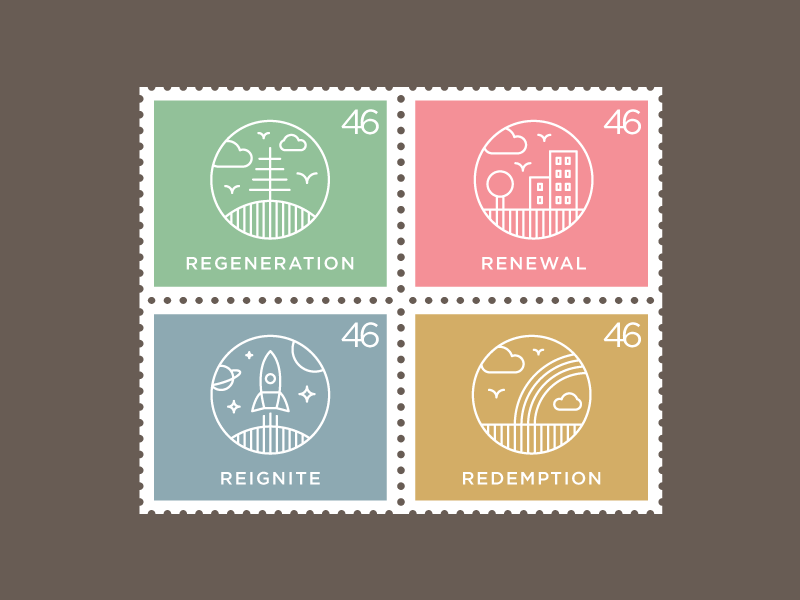 """""""Re"""" Series Icons Stamps logo logotype identity branding illustration icon re regeneration renewal reignite redemption space"""