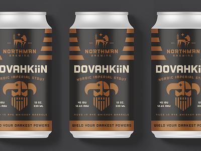 Northman Brewing Beer Can Design packaging can copper skyrim nordic beer branding identity logo