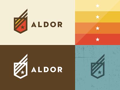 Aldor logo identity logotype branding sean heisler shield star outdoor strength