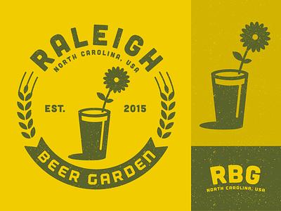 Raleigh Beer Garden logo identity branding beer garden flower raleigh glass