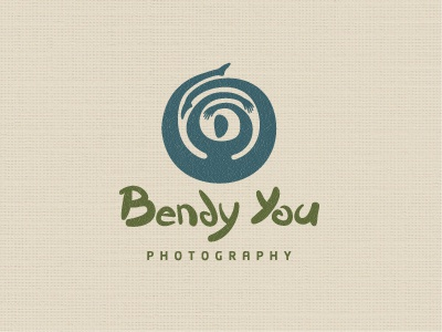 Bendy You Photography logo logotype modern simple minimal yoga natural bend flexible person photography symbol fun