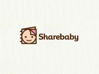 Sharebaby  logo logotype symbol identity baby share book social media smile fun simple modern minimal