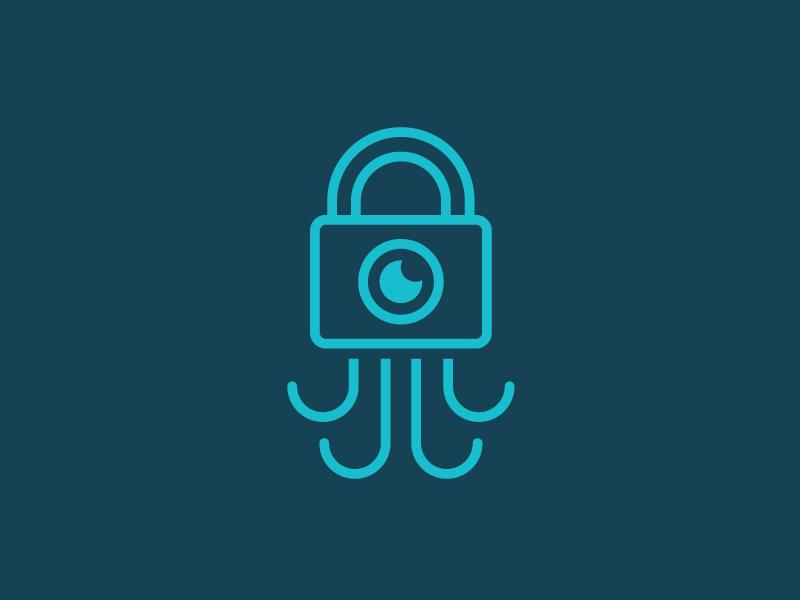 SQID software security squid padlock lock modern minimal simple branding identity logo