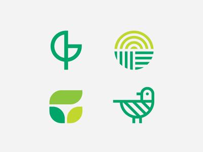 Greenteria natural leaf bird organic green heisler simple minimal modern identity branding logo