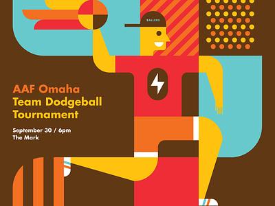 AAF Omaha Dodge & Burn Dodgeball Tournament Poster pattern geometric modern dodgeball heisler illustration poster