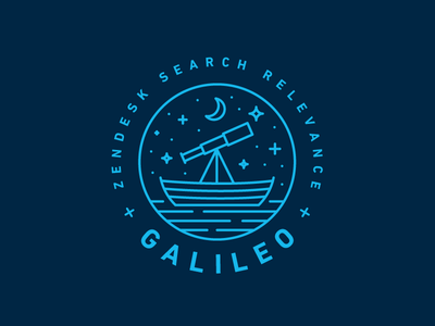 Zendesk Team Galileo telescope search water boat stars galileo heisler zendesk monoline modern identity logo