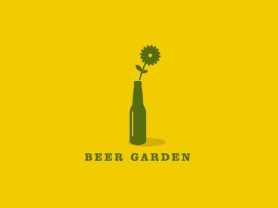 Beer Garden simple minimal logo logotype identity beer garden bottle flower daisy