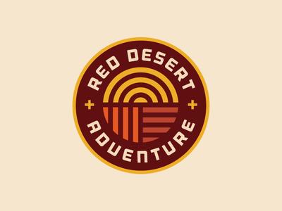 Red Desert Adventure sun climbing hiking outdoor patch badge desert adventure simple minimal identity logo