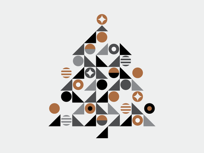 Happy Holidays 2016 geometric copper holiday tree christmas heisler minimal simple modern