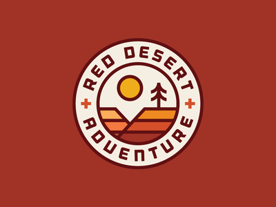 Red Desert Adventure badge sun rocks adventure tree canyon desert heisler simple minimal identity logo