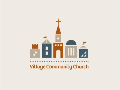 Village Community Church logo logotype identity simple minimal modern fun town village church cross