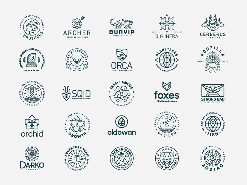 Zendesk Departmental Team Logos department heisler zendesk badge team monoline minimal modern branding identity logo