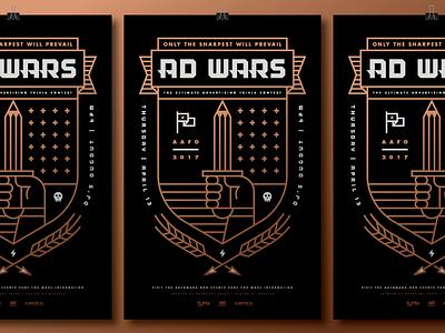 AAF Omaha Ad Wars 2017 Poster shield metallic sword pencil wheat beer arrow wars ad heisler poster