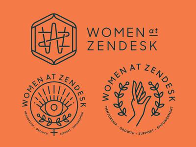 Women At Zendesk monogram women heisler zendesk badge team monoline minimal modern branding identity logo