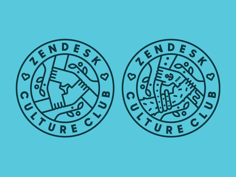 Zendesk Culture Club tattoo octopus heisler zendesk team monoline minimal modern badge branding identity logo