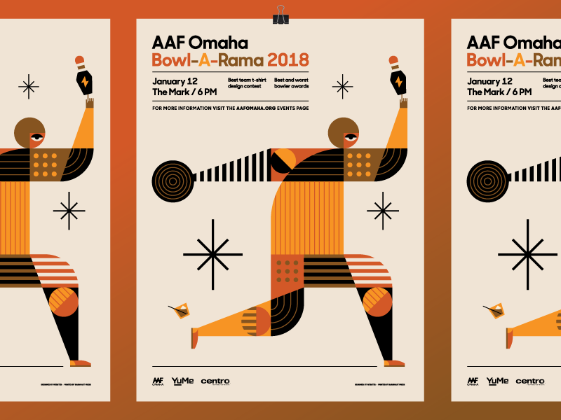 AAF Omaha Bowl-A-Rama 2018 Poster modern pattern vintage ball bowling aaf heisler poster