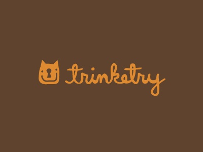 Trinketry logo logotype identity modern minimal fun hand drawn script cat dog lock key trinket