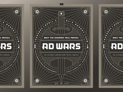 Ad Wars 2018 Poster fantasy mystical war celestial monoline event contest trivia pencil sword heisler poster