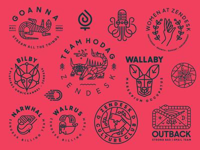 Zendesk Team Logos animal monoline zendesk badge simple modern minimal heisler identity logo