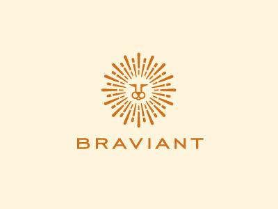 Braviant logo logotype identity lion modern minimal sun brave radiant fun restaurant online