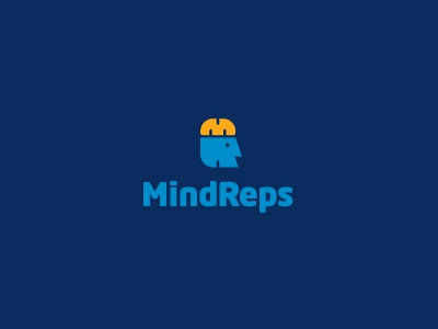 MindReps logo logotype identity modern minimal simple head brain m r knowledge repetition