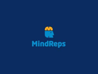MindReps logo logotype identity modern minimal simple head brain m r knowledge repetition