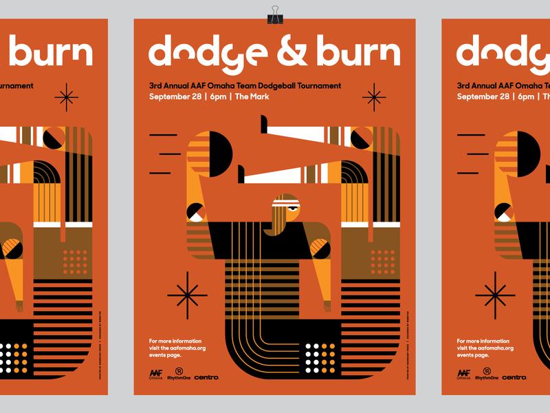 AAF Omaha 2018 Dodge & Burn Dodgeball Poster dodgeball heisler illustration minimal modern poster