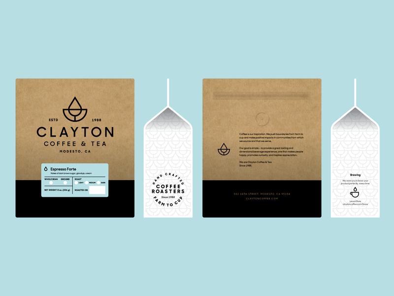 Clayton Coffee & Tea Bag Design heisler kraft minimal simple modern logo label tea packaging coffee