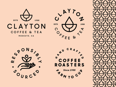Clayton Coffee & Tea Brand Elements branding heisler pattern badge tea simple minimal modern coffee identity logo