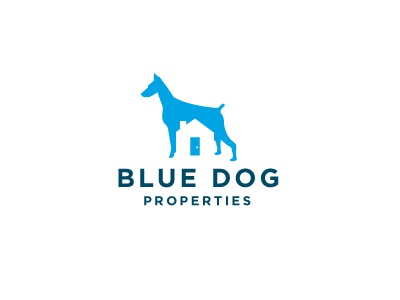 Blue Dog Properties simple logo logotype identity modern minimal blue dog properties real estate investment negative space residential house door